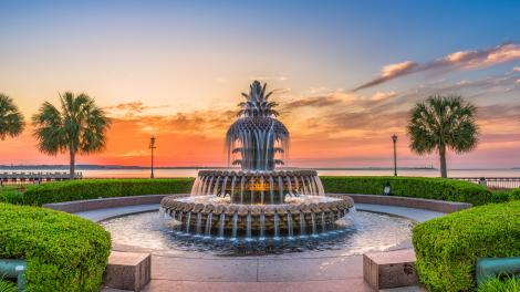 The famous Pineapple Fountain in Charleston, South Carolina