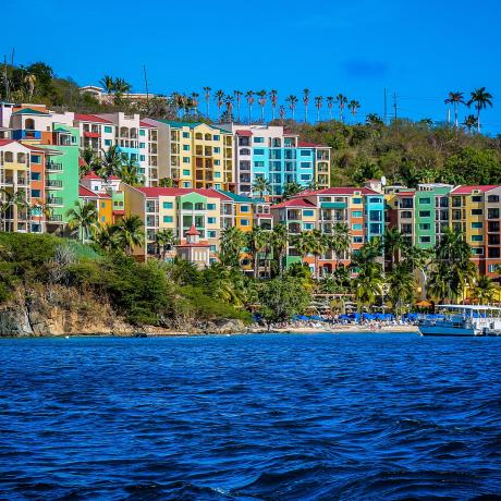 The vibrantly colored Marriott Frenchman's Cove Resort on St. Thomas
