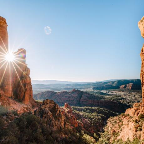 Sunlit canyon views in Arizona