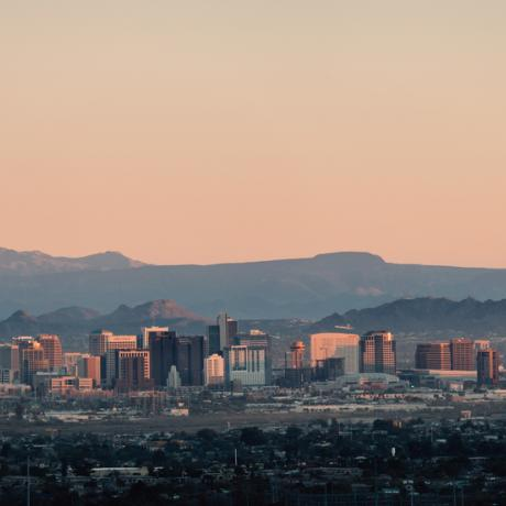 Sunrise over the Phoenix, Arizona skyline