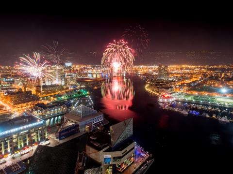 Choreographed fireworks show over the Inner Harbor on New Year's Eve