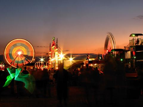 Illuminated rides at the Olmsted County Fair