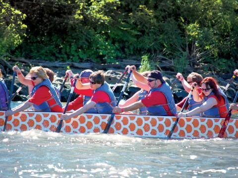 Working together in the Dragon Boat Race