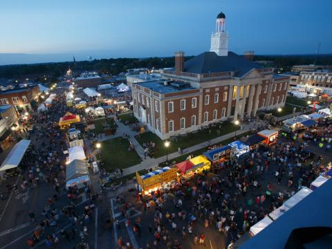 Aerial view of Santa-Cali-Gon Days event