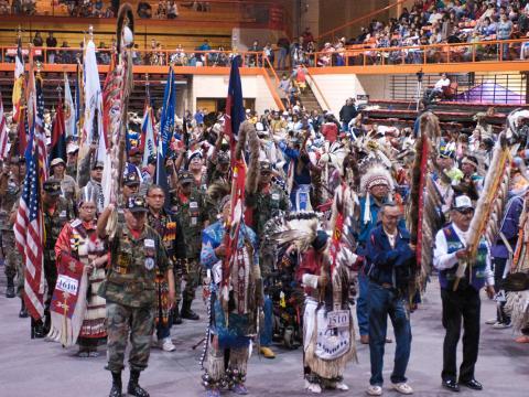A procession in progress at Black Hills Powwow