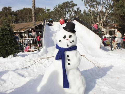 A snowman in California at Marina del Rey's Snow Wonder event