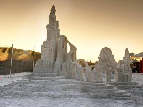 An impressive sandcastle on display during the American Sandsculpting Championship