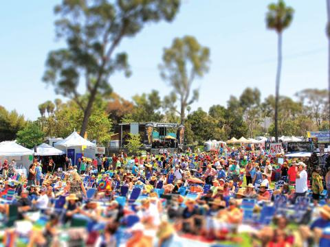 A festive scene at the Doheny Blues Festival in Dana Point, California