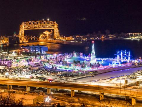 Aerial view of the Bentleyville holiday tour of lights in Duluth, Minnesota