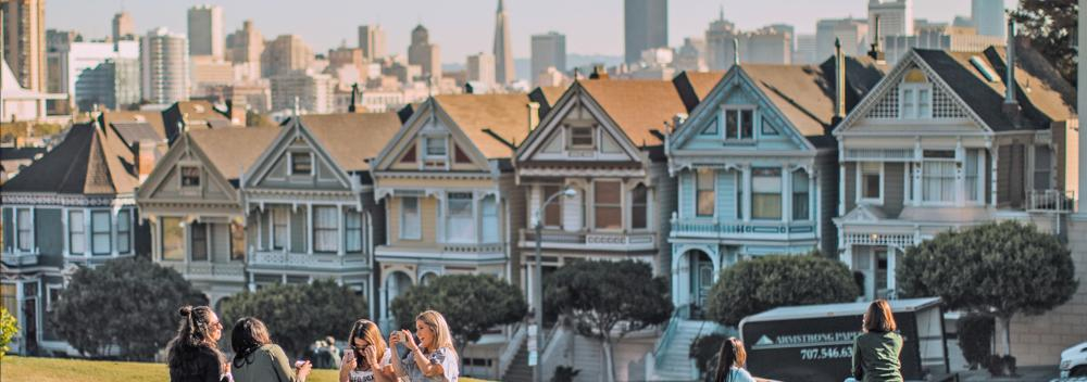 Colorful row houses, known as 'The Painted Ladies', in San Francisco, California