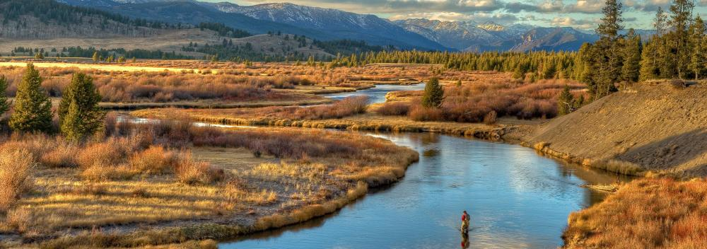 Fly-fishing on the South Fork of the Madison River near West Yellowstone, Montana