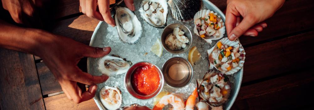 Oysters and ceviche on ice in Massachusetts