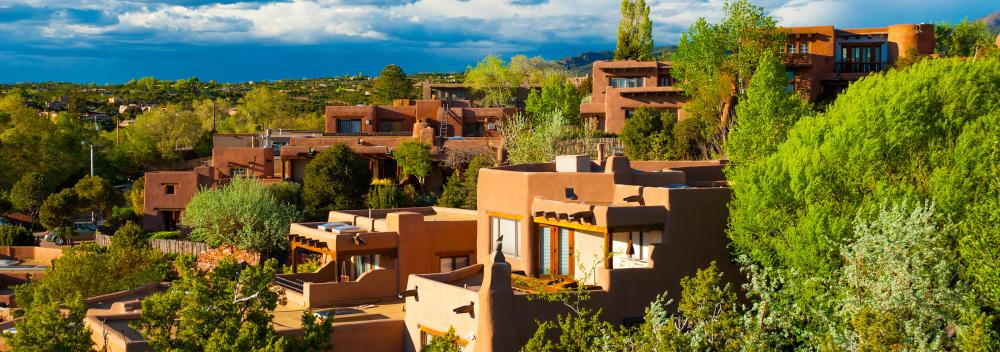 Pueblo-style homes on a hillside in Santa Fe, New Mexico